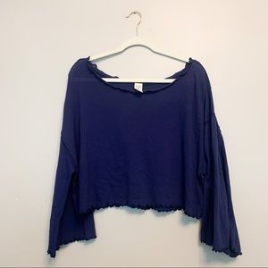 We the Free Blue Loose Knit Bell Sleeve Top S